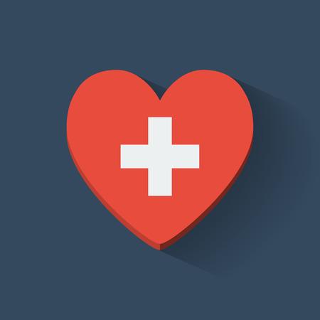 heartshaped: Heart-shaped icon with national flag of Switzerland  Flat design  Illustration