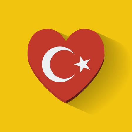heartshaped: Heart-shaped icon with national flag of Turkey  Flat design  Illustration