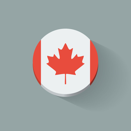 Round icon with national flag of Canada  Flat design