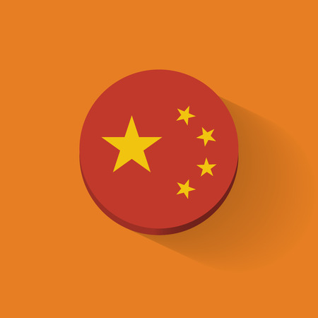 Round icon with national flag of China  Flat design  Vector