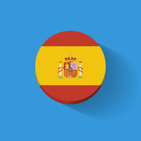 Round icon with national flag of Spain. Flat design.