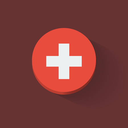 Round icon with national flag of Switzerland. Flat design.