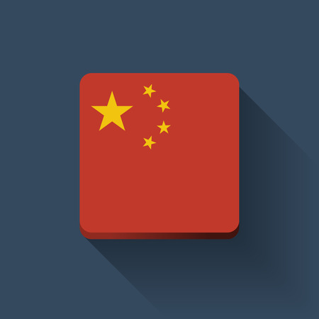 Isolated square button with national flag of China  Flat design