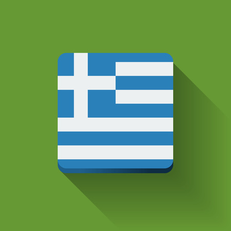 Isolated square button with national flag of Greece  Flat design