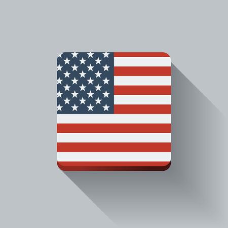 Geïsoleerde vierkante knop met de nationale vlag van de Verenigde Staten Flat ontwerp