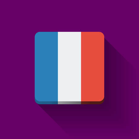 Isolated square button with national flag of France  Flat design