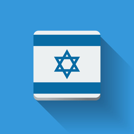 Isolated square button with national flag of Israel. Flat design.
