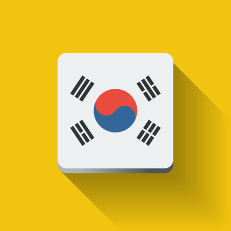 Isolated square button with national flag of South Korea. Flat design.