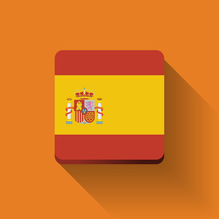 Isolated square button with national flag of Spain. Flat design.