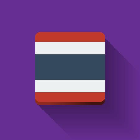 Geïsoleerde vierkante knop met de nationale vlag van Thailand. Plat ontwerp.