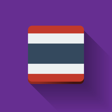 Isolated square button with national flag of Thailand. Flat design.