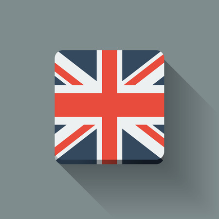 Isolated square button with national flag of the UK. Flat design. Vector