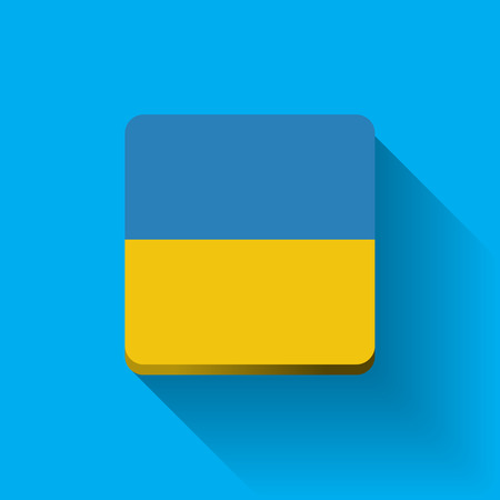 Isolated square button with national flag of Ukraine. Flat design. Vector
