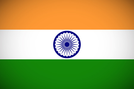 indian blue: National flag of India with correct proportions and color scheme