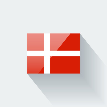 danish flag: Glossy icon with national flag of Denmark  Correct proportions and color scheme  Illustration