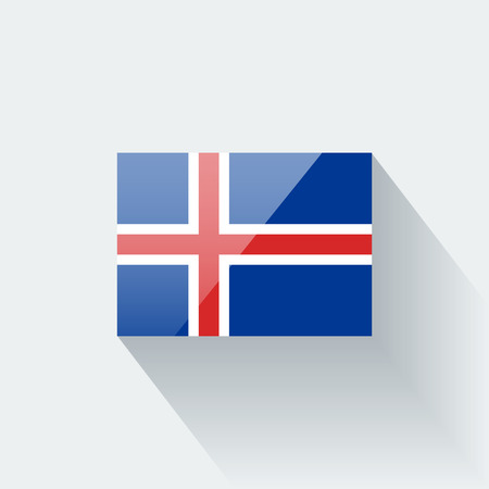 proportions: Glossy icon with national flag of Iceland  Correct proportions and color scheme