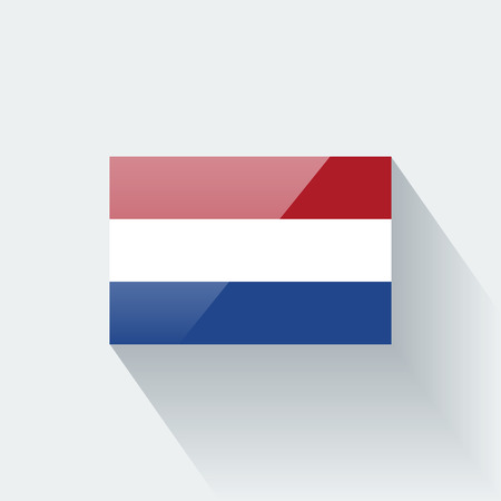 Glossy icon with national flag of Netherlands  Correct proportions and color scheme  Illustration
