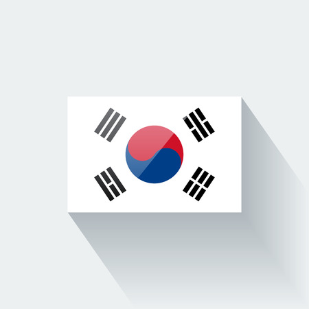 Glossy icon with national flag of South Korea  Correct proportions and color scheme  Vector