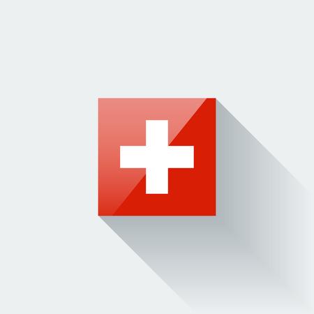 Glanzende pictogram met de nationale vlag van Zwitserland juiste verhoudingen en kleurstelling