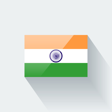 proportions: Glossy icon with national flag of India. Correct proportions and color scheme.