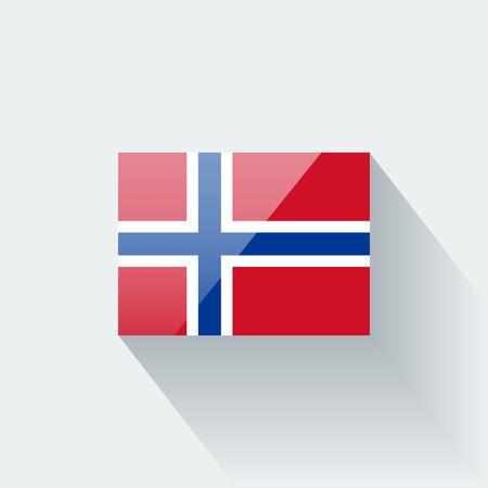 El icono brillante con la bandera nacional de Noruega. Proporciones correctas y esquema de color.