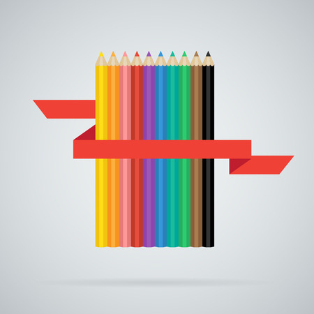 Colored pencils set of 10 different colors with red ribbon Vector
