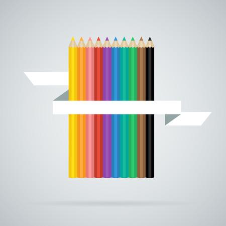 ruban blanc: Crayons de couleur ensemble de 10 couleurs diff�rentes avec ruban blanc Illustration