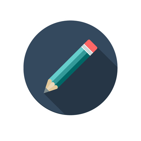 Pencil icon isolated on white background. Flat design. Vector