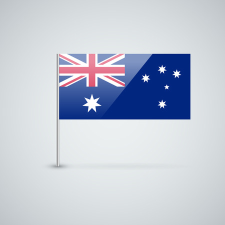 Isolated glossy icon with national flag of Australia. Correct proportions and color scheme. Vector