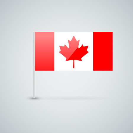Isolated glossy icon with national flag of Canada. Correct proportions and color scheme. Illustration