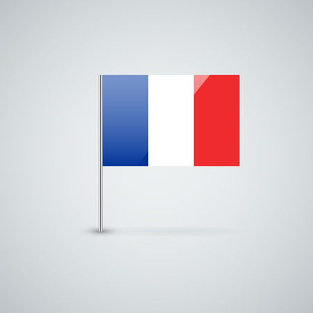 флагшток: Isolated glossy icon with national flag of France. Correct proportions and color scheme. Иллюстрация