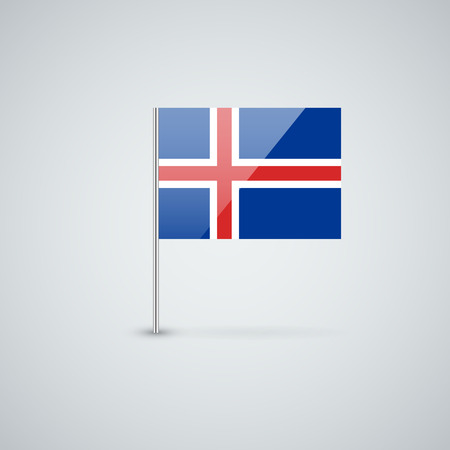 proportions: Isolated glossy icon with national flag of Iceland. Correct proportions and color scheme. Illustration