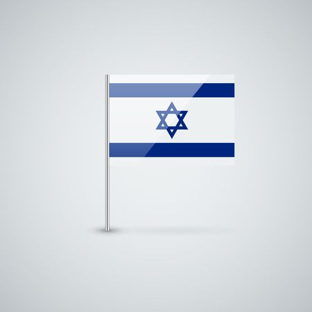Isolated glossy icon with national flag of Israel. Correct proportions and color scheme.