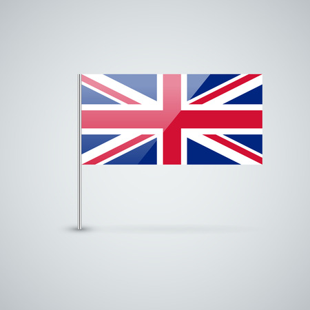 Isolated glossy icon with national flag of the UK. Correct proportions and color scheme. Vector