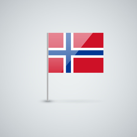 Isolated glossy icon with national flag of Norway. Correct proportions and color scheme. Vector