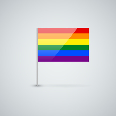 Isolated glossy icon with rainbow flag Illustration