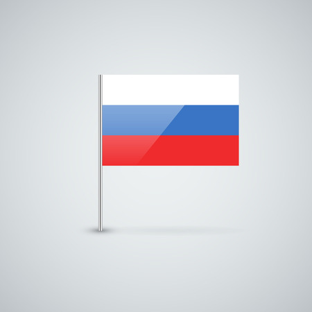 Isolated glossy icon with national flag of Russia. Correct proportions and color scheme.