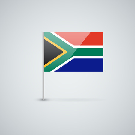 proportions: Isolated glossy icon with national flag of South Africa. Correct proportions and color scheme.