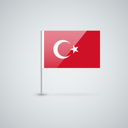 Isolated glossy icon with national flag of Turkey. Correct proportions and color scheme.