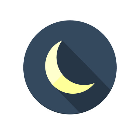 Flat long shadow moon icon isolated on white background