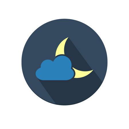 Flat long shadow weather icon with moon and cloud isolated on white background