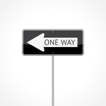one way sign: One way traffic sign (left) isolated on white background  Illustration