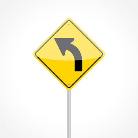 curve ahead sign: Left curve traffic sign isolated on white background Illustration