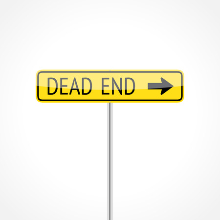Dead end traffic sign (right) isolated on white background Vector