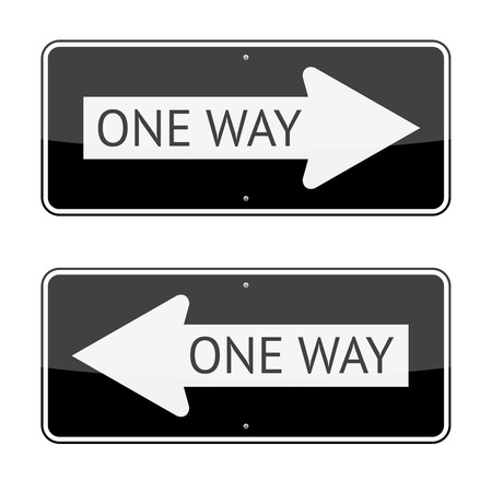 one way: One way traffic signs isolated on white background Illustration