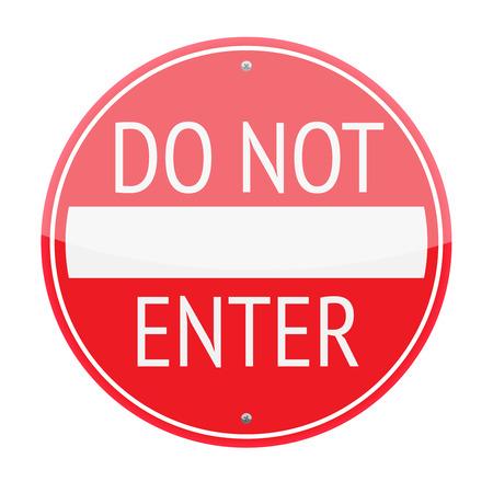 do not enter: Do not enter traffic sign isolated on white background Illustration