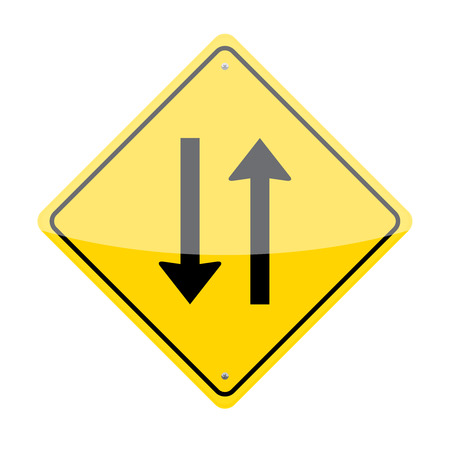 two way traffic: Two way traffic sign isolated on white background Illustration