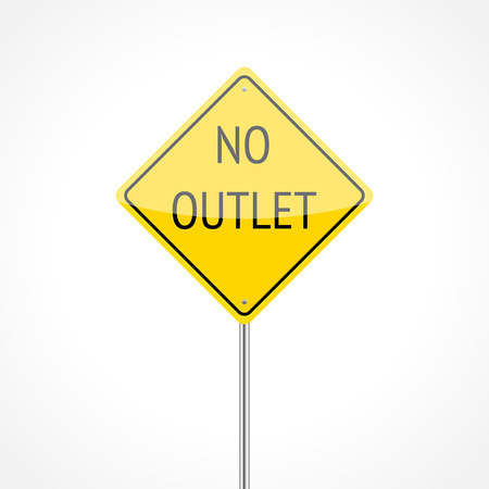 cul de sac: No outlet traffic sign isolated on white background Illustration
