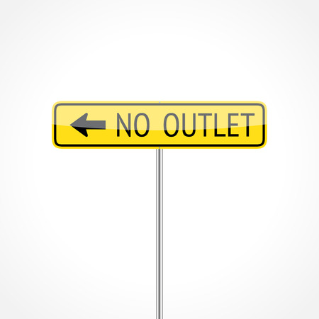 cul de sac: No outlet traffic sign (left) isolated on white background