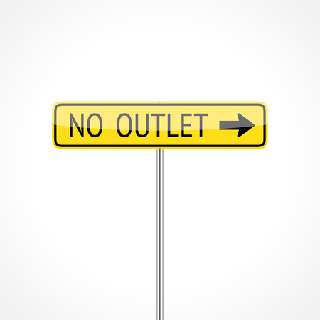 cul de sac: No outlet traffic sign (right) isolated on white background Illustration